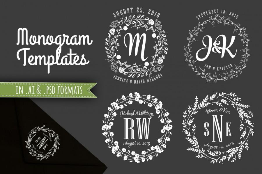 Wedding Monogram Templates Initials Decorative Monograms Design Template Psd And Ai Files Instant