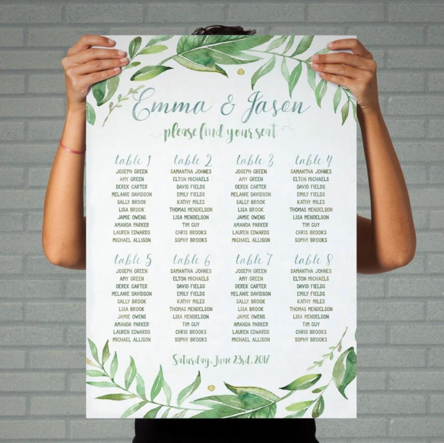 Свадьба - green wedding seating plan table printable wedding seating chart greenery seating arrangements leafy wreath personalized seating table plan