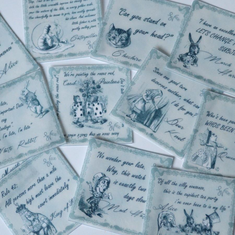 Wedding - Edible Alice in Wonderland Quotes Grey Scale x 12 Wafer Rice Paper Wedding Cookie Decorations Mad Hatters Birthday Tea Cake Cupcake Toppers