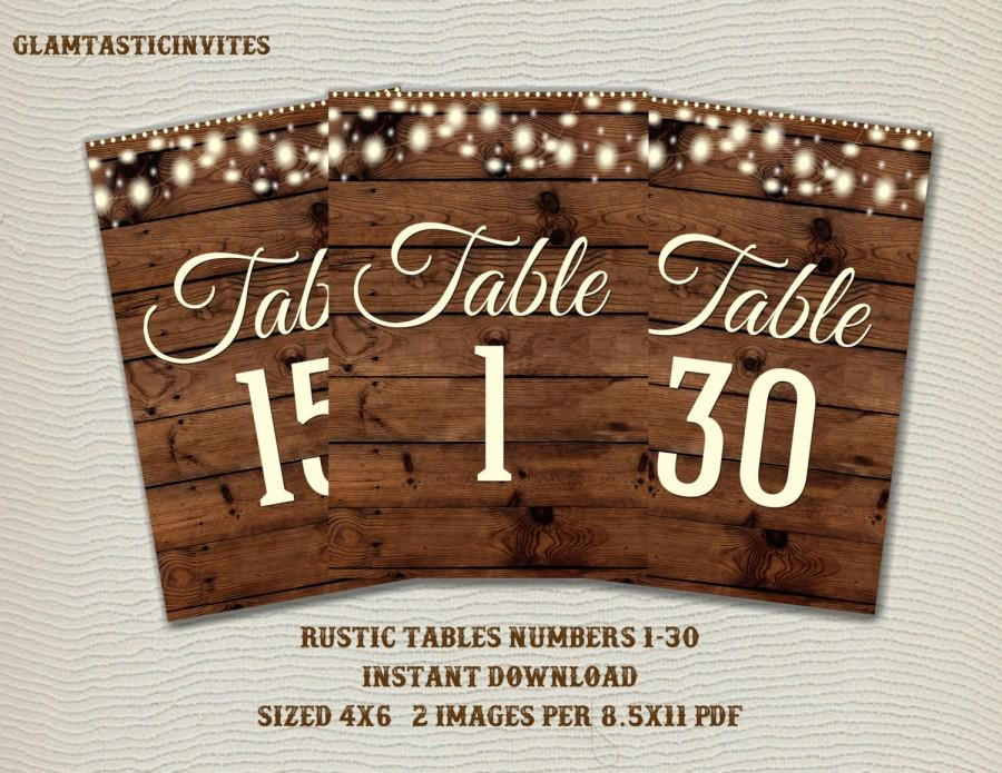 Hochzeit - Rustic Table Numbers, Printable Table Numbers, Wedding Table Numbers, Instant Download, Rustic Wedding, Printable, Tables 1-30, Rustic