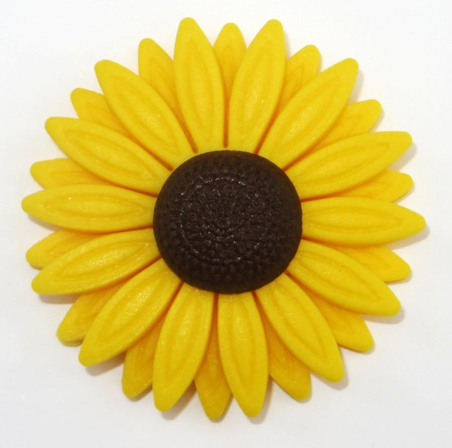 Mariage - EDIBLE FONDANT Set of 12 Large (5.5cm) Sunflower cupcake plaques - edible sugar cake decorations