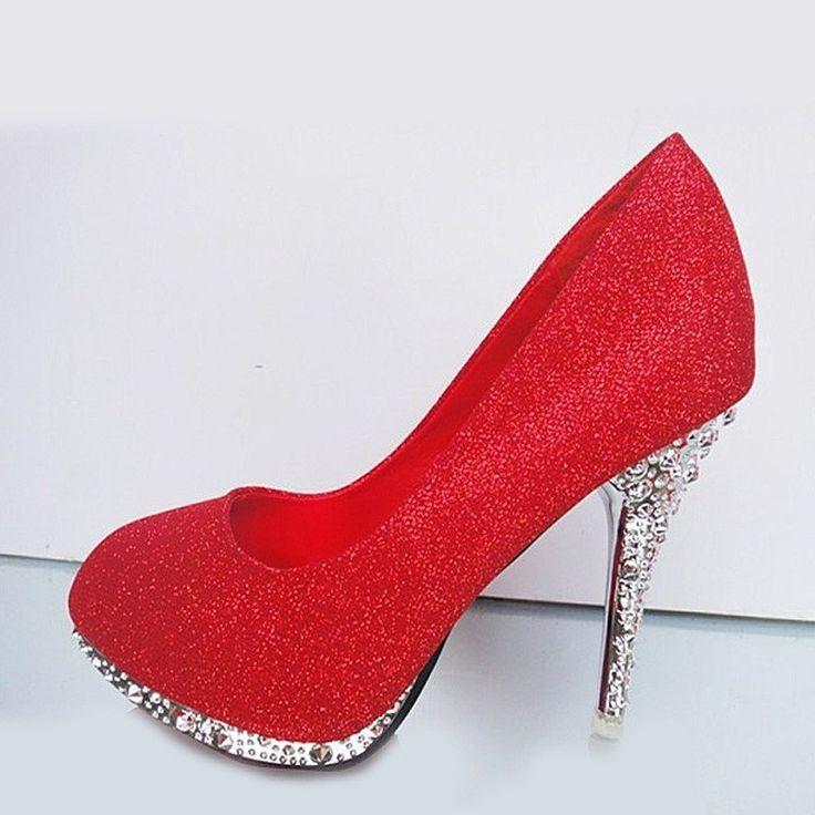 Hochzeit - Glitter White Crystal Red Bottom High Heels