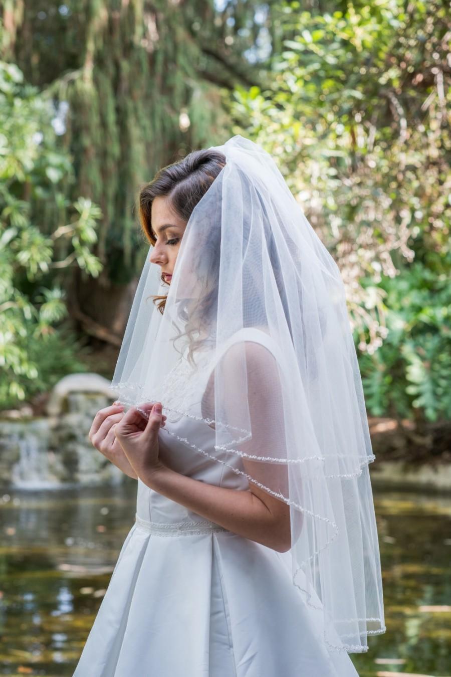 Mariage - Two Tier Waist Length Beaded Veil