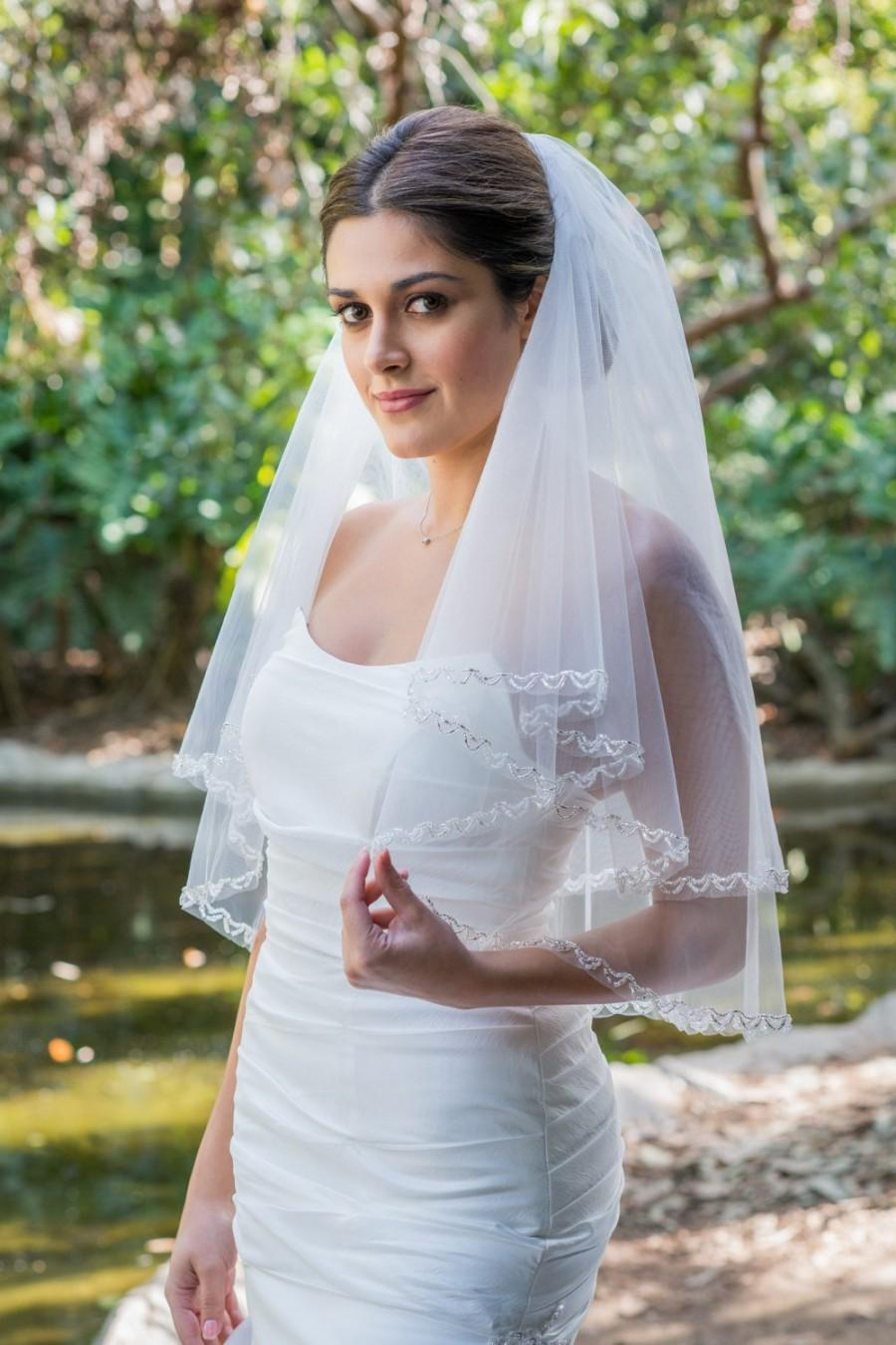Mariage - Beaded Two Tier Short Elbow Length Veil