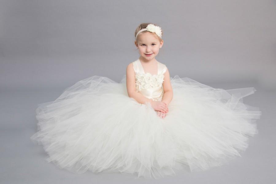 Mariage - Flower girl dress - Tulle flower girl dress - Ivory Dress - Tulle dress-Infant/Toddler - Pageant dress - Princess dress - Ivory flower dress