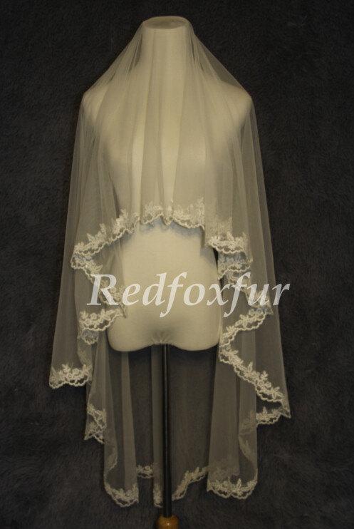 Mariage - Bridal Veil fall, simple lace veil, bridal veil single fingertip, folding veil veil