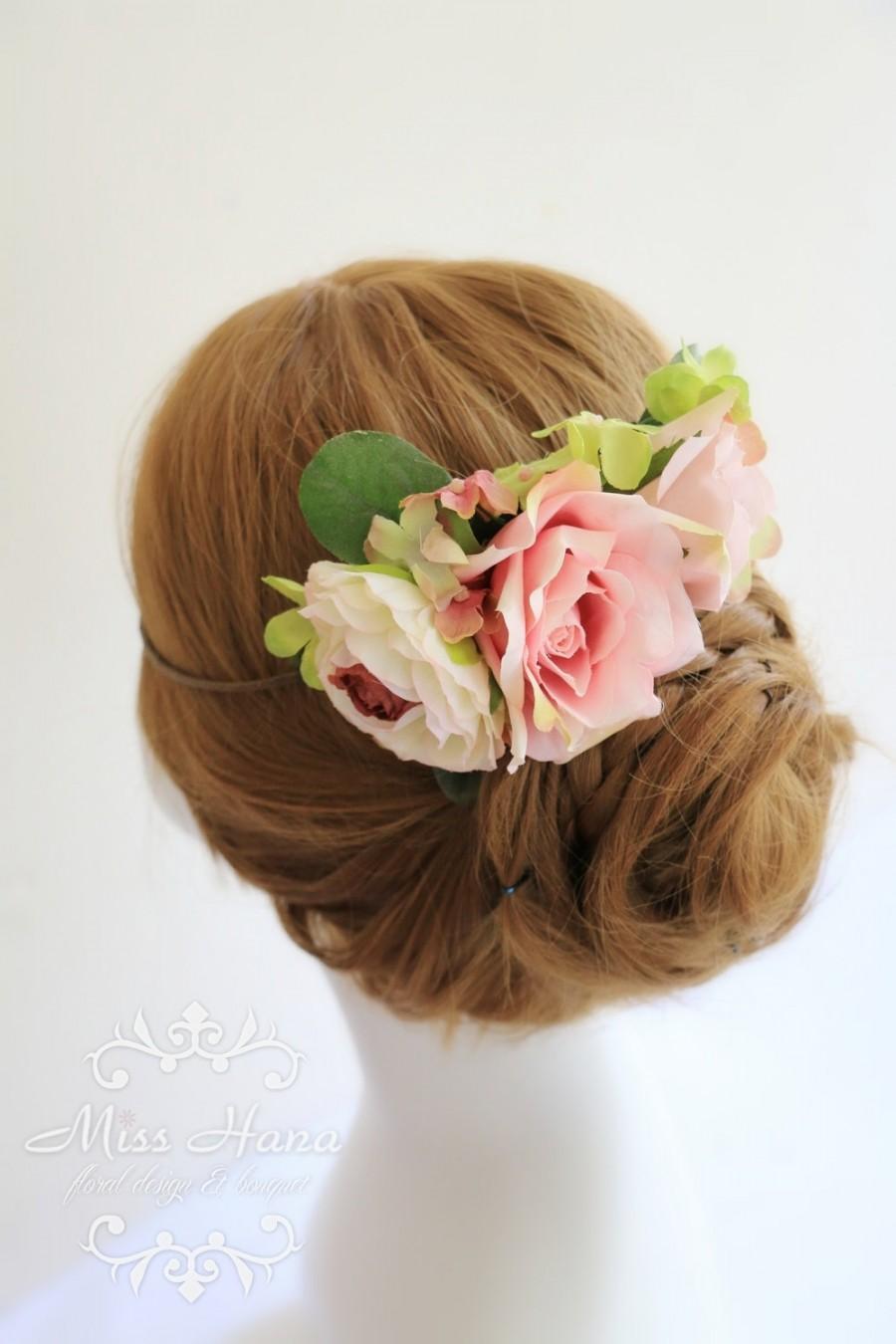 Mariage - Bridal Hair crown, Bridal hair accessory, Bridal hairpiece blush flower, Bride wreath, Bridesmaid Rustic Vintage outdoor wedding woodland