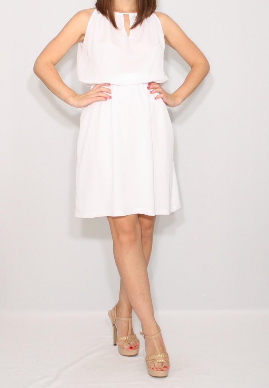 Boda - Short white dress Chiffon dress Wedding dress Keyhole dress