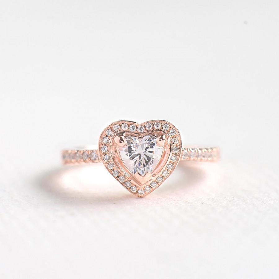 Wedding - Rose Gold CZ Heart Cut Ring - Sterling Silver Engagement Ring - Unique Engagement Ring - Anniversary Ring - Halo Heart