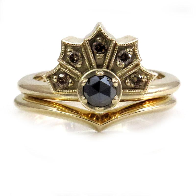 Mariage - Rose Cut Black Diamond and Champagne Diamond Gothic Fan Engagement Ring - Yellow, White or Rose Gold