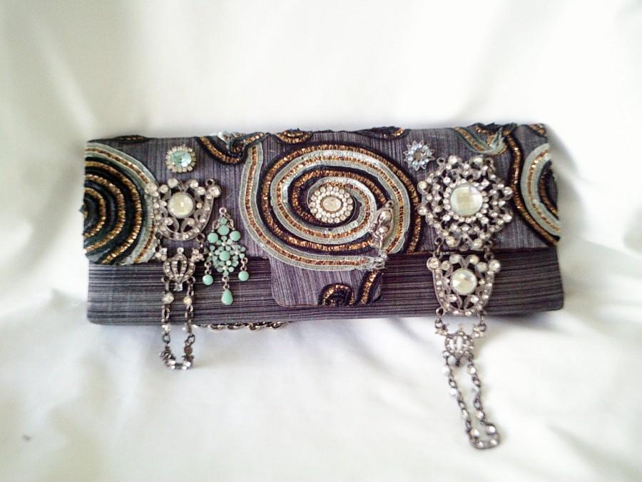 Düğün - grey handmade bag, couture purse, gray beaded purse, grey steampunk purse, silver beaded clutch,