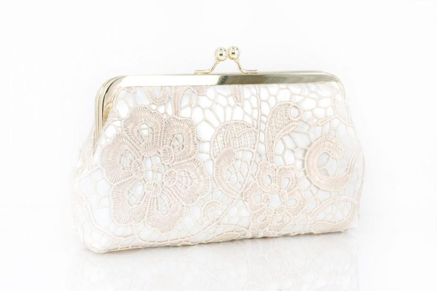 Свадьба - Bridal Champagne Lace Ivory Satin Clutch Gold Frame L'HERITAGE 8-inch