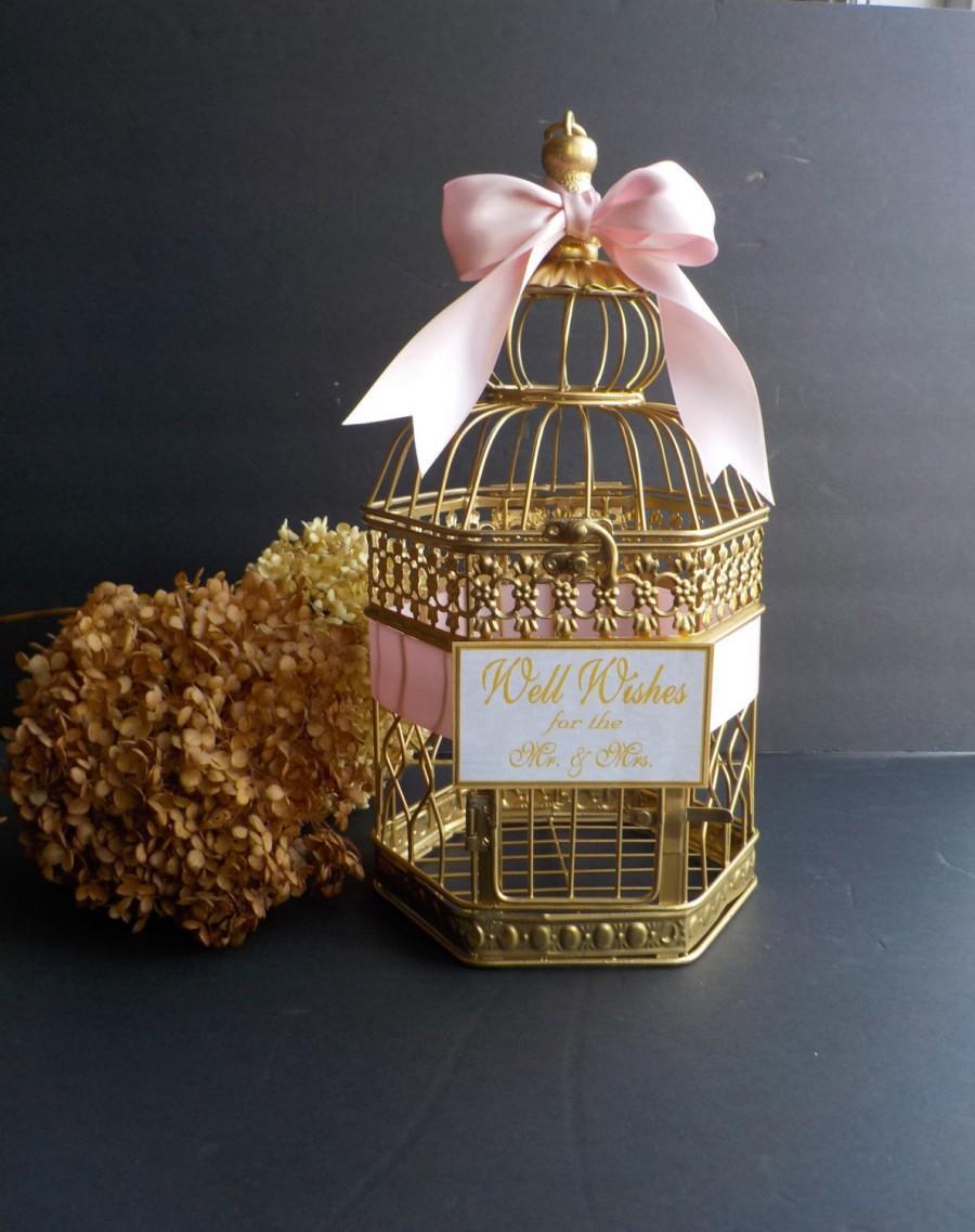 Mariage - Wedding Wishing Well, Bridal Wishing Well, Bird Cage Card Holder, Birdcage Card Box, Shower Supplies, Wishing Well, Custom Colors