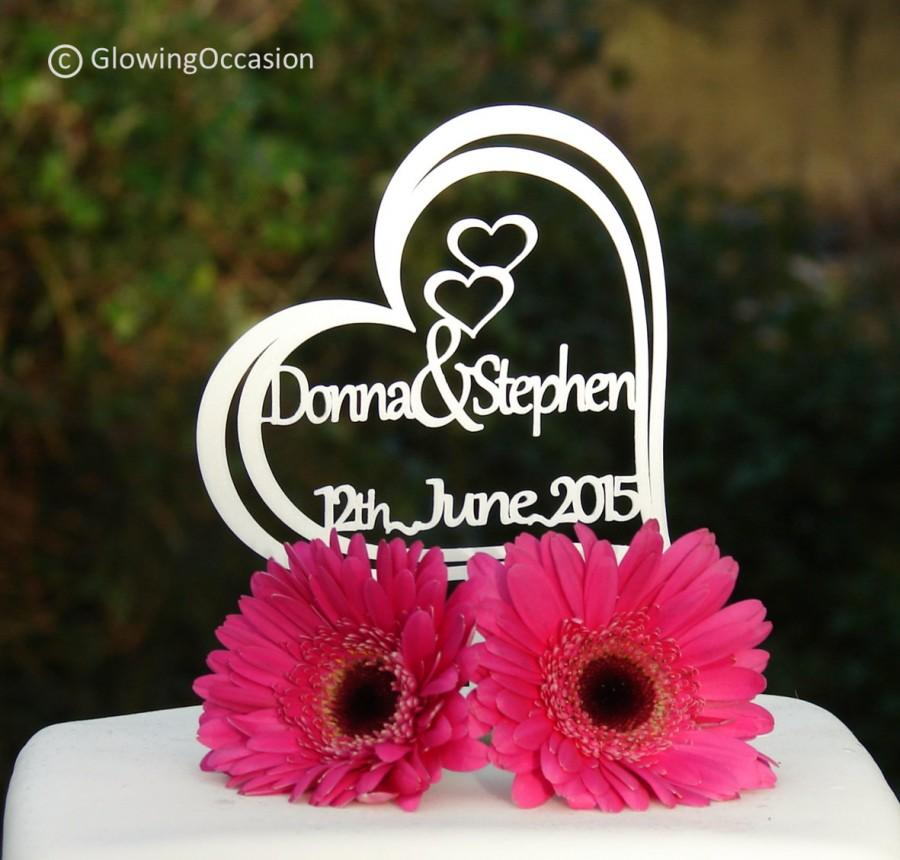"""Mariage - Personalised """"2 Name"""" Heart Wedding Cake Topper - Personalise with 2 Names up to 7 Characters Long each & The Wedding Date."""