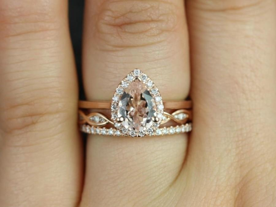 Wedding - Limited Time Sale 1.50 carat Morganite and Diamond Trio Ring Set in 10k Rose Gold with One Engagement Ring and 2 Wedding Bands