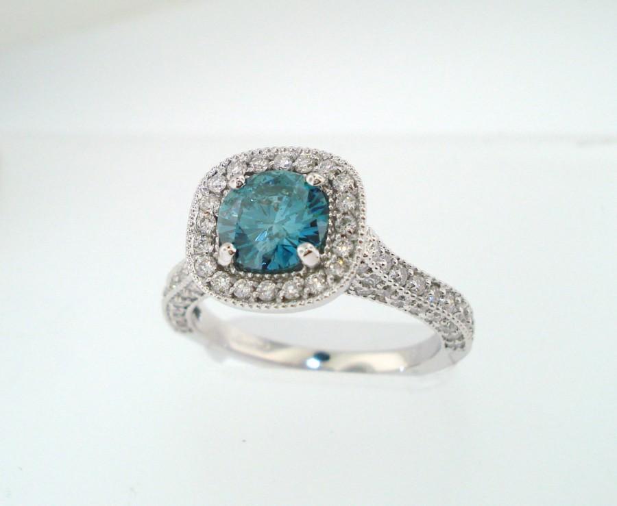 Wedding - Blue Diamond Engagement Ring 14k White Gold 1.84 Carat Halo Certified Handmade Pave Set