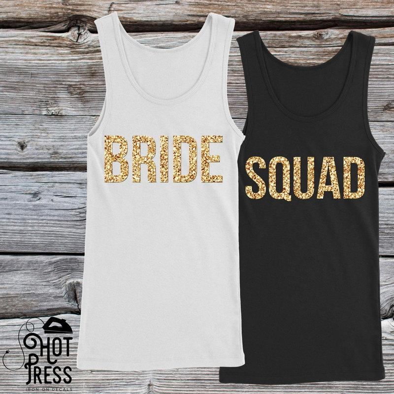 Mariage - Bride Squad Iron On Decal - Bachelorette Party - Bride Gift - Bride Shirt - Bride Tank Top - Bridesmaid Gift - Tote Bags - Applique