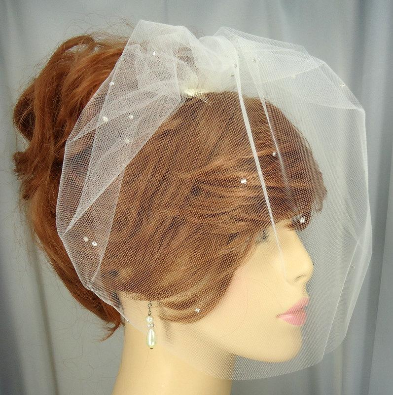 Mariage - Birdcage Veil, Tulle Mini Veil, Bridal Veil, Wedding Veil, 12 Inch Veil, Scattered Crystal Veil, Bridal Accessory, REX2025SC