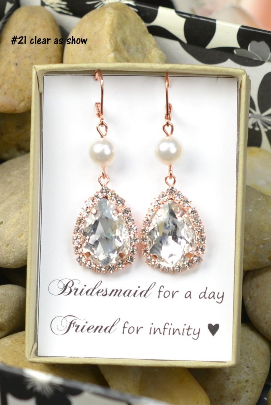 Wedding - Rose Gold Bridal Earrings, Pink Gold wedding earrings, white or ivory cream pearl ,rose gold,rose gold bridesmaid jewelry,blush pink ,pink