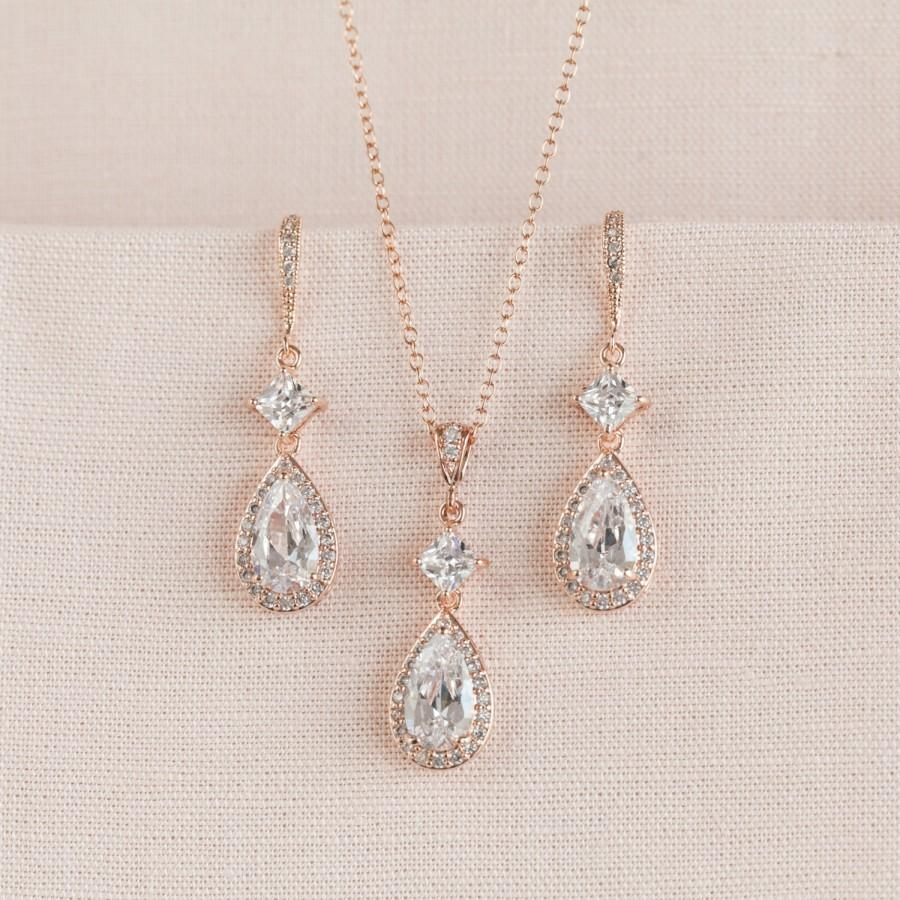 Wedding - Rose Gold Bridal Earrings, Wedding Jewelry SET, Crystal Bridal Jewelry, Cushion Cut, Swarovski Bridesmaid Wedding, Alicia Bridal Jewelry SET