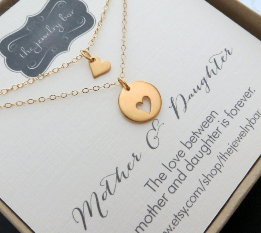 Wedding - Mother daughter necklace sets, Two gold heart necklaces, mother of the bride gift from daughter, wedding day