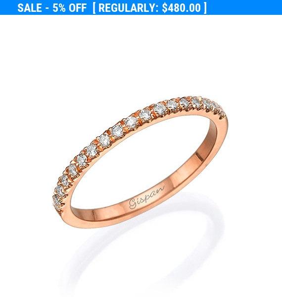 Wedding - Rose Gold Stacking Ring, Row Ring, Eternity Ring, Diamond Ring, Promise Ring, Wedding Band, 14k Ring, Wedding Ring, Band ring, Bridal Ring