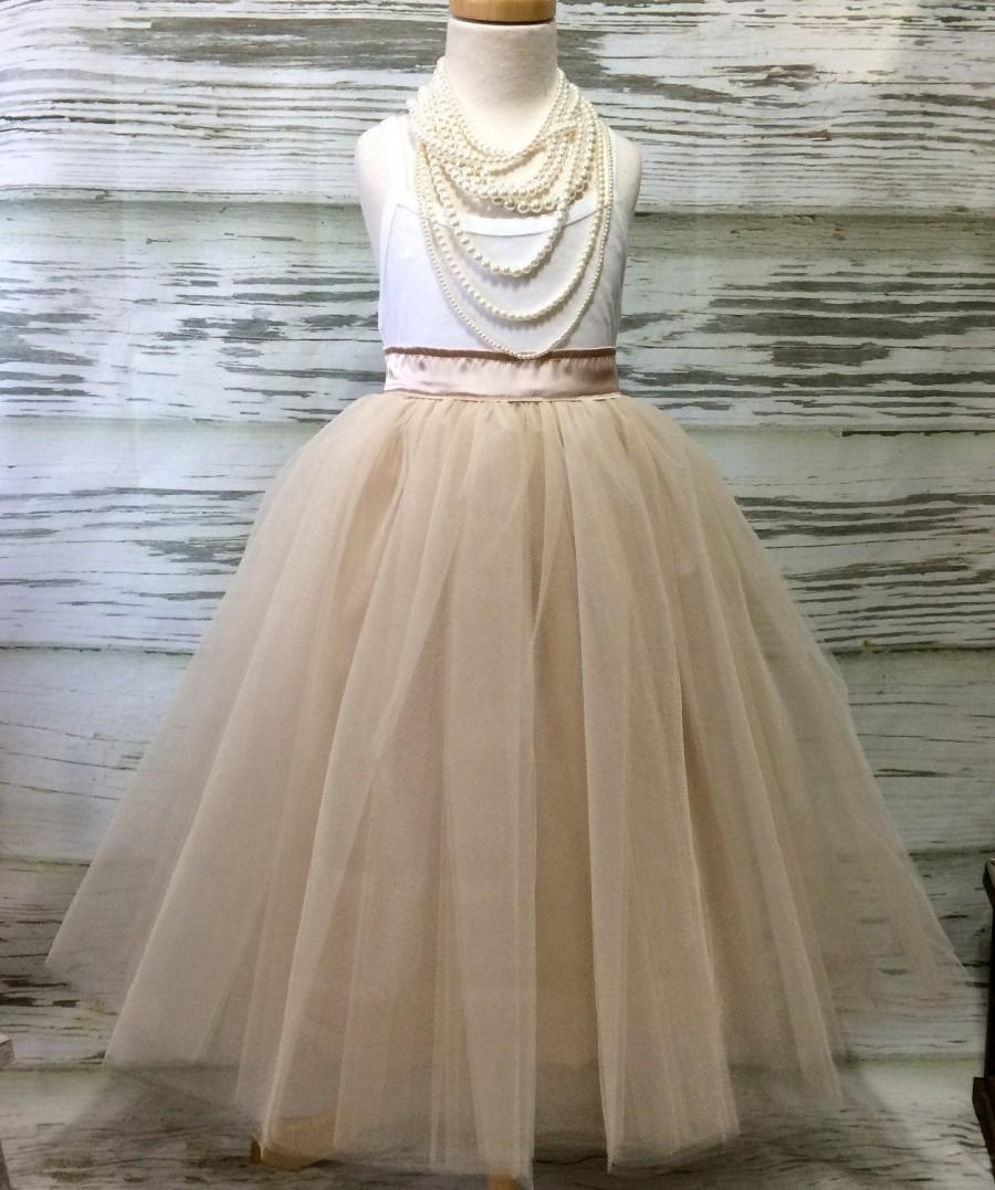 Mariage - Free Shipping to USA Custom Made Girls Champagne  with Ivory Overlay  Floor Length Tulle Skirt -for Flower Girl,Rustic Wedding