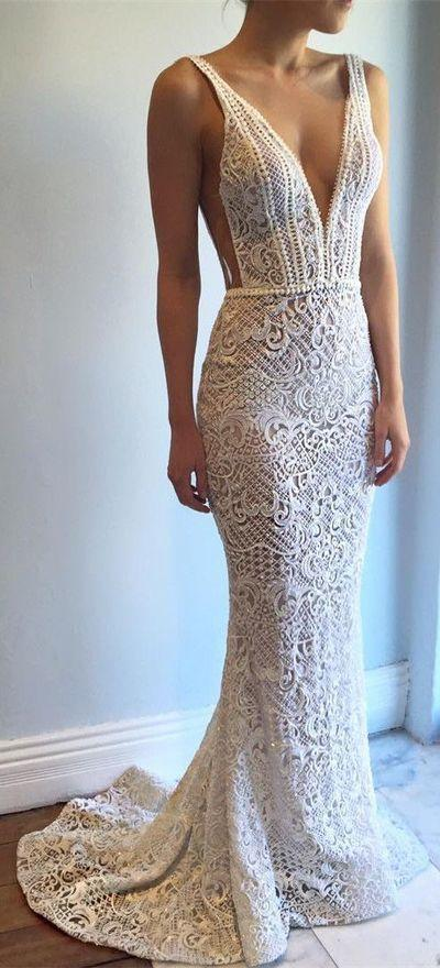 Свадьба - New Arrival Wedding Dress,Exquisite Deep V-Neck Sweep Train Lace Backless Mermaid Wedding Dress With Beading From Hiprom