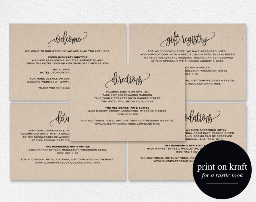 Wedding Gift Card Registry: Enclosure Cards, Details Card, Directions Card, Gift