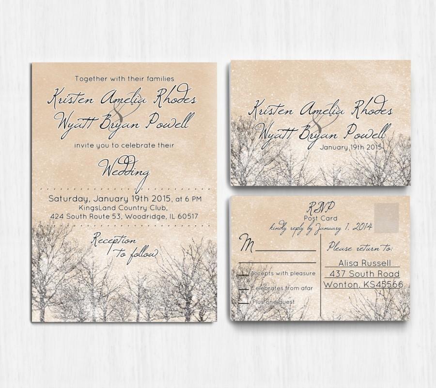digital winter wedding invitation printable wedding invitation