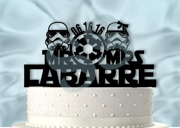 Mariage - Star Wars wedding Mr ans Mrs Storm Troopers With Name and Date Star Wars Inspired Wedding Cake Topper