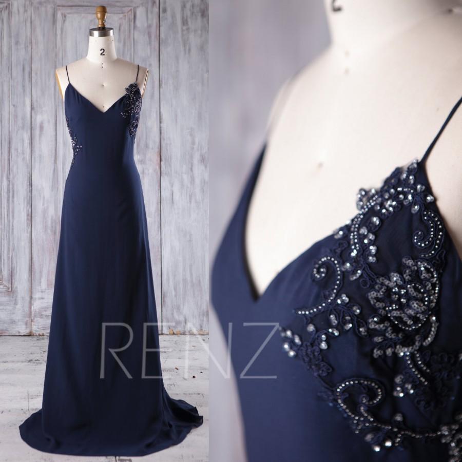 Mariage - 2017 Navy Chiffon Bridesmaid Dress with Sequin Beading, Lace V Neck Wedding Dress, Spaghetti Straps Prom Dress Slim Full Length (L237)