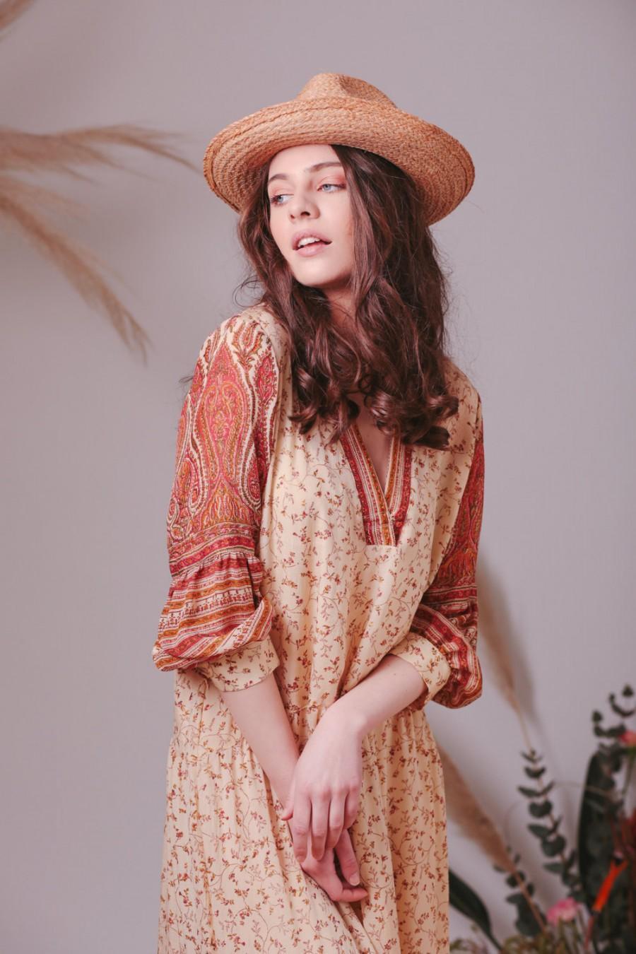 Mariage - Bohemian Indian Silk Georgette dress,Floral dress,Flowy dress,Boho dress,Bohemian wedding dress,Boho clothing,Indian dress,Silk dress