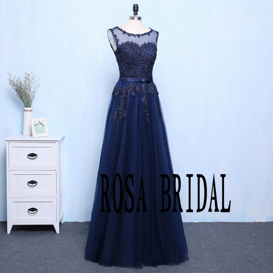 Mariage - Navy Bridesmaid Dresses A Line Illusion Neck Lace Applique Beading Custom Size color