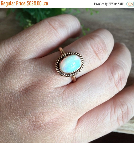 Wedding - 18K Gold Opal ring - Natural Opal Ring - Engagement ring - Artisan ring - October birthstone - Bezel ring - Gift for her