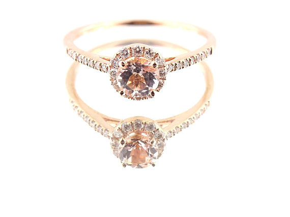 Wedding - 14K Rose Gold Diamond and Natural Morganite Halo Engagement Ring Wedding Ring Classic Solitaire Ring Yellow Gold White Gold Antique Design