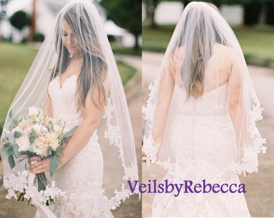 Mariage - Fingertip Partial Lace veil,lace applique wedding veil, lace fingertip wedding veil, lace veil fingertip-1 tier short lace bridal veil V636