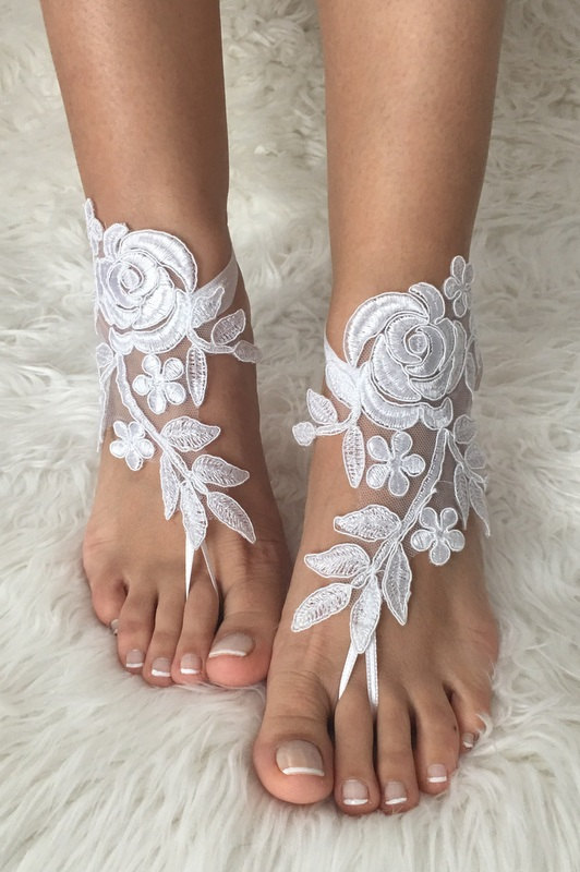 Wedding - white lace barefoot sandals, FREE SHIP, beach wedding barefoot sandals, belly dance, lace shoes, bridesmaid gift, beach shoes