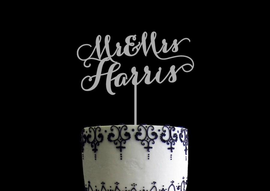 Mariage - Wedding Cake Topper Customized with Mr and Mrs Last Name