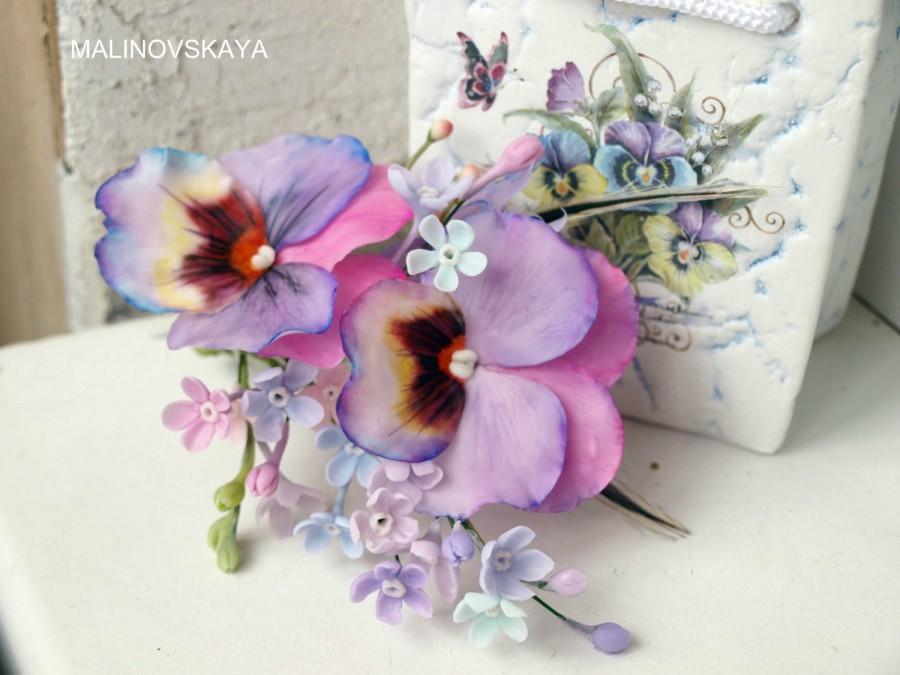 Wedding - clip pansy,Hair Accessories, cold porcelain, flower hair, violet barette, bride Accessories, bridesmaid,Accessories pansy, violet flower