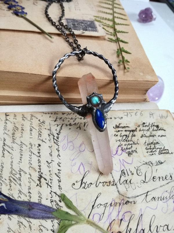 Hochzeit - Lapis Labradorite Raw LEMURIAN, CRYSTAL Quartz Necklace, boho necklace, Rustc jewelry vintage necklaces, soldered necklace, one of a kind
