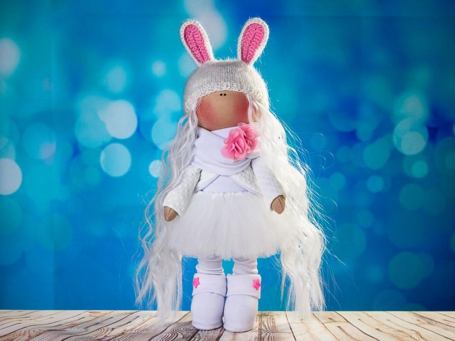 Hochzeit - Doll tilda. Doll Albina. Сollection Fairy doll. Textile doll. Soft toy. Cute gift. Interior doll. Rag doll. Soft toy. Doll with Bunny ears