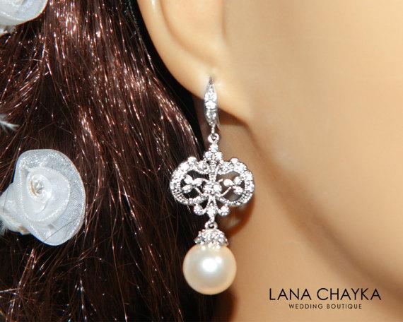 Hochzeit - Pearl Chandelier Bridal Earrings Swarovski 10mm Pearl Earrings Ivory Pearl CZ Silver Dangle Earrings Vintage Style Pearl Wedding Earrings