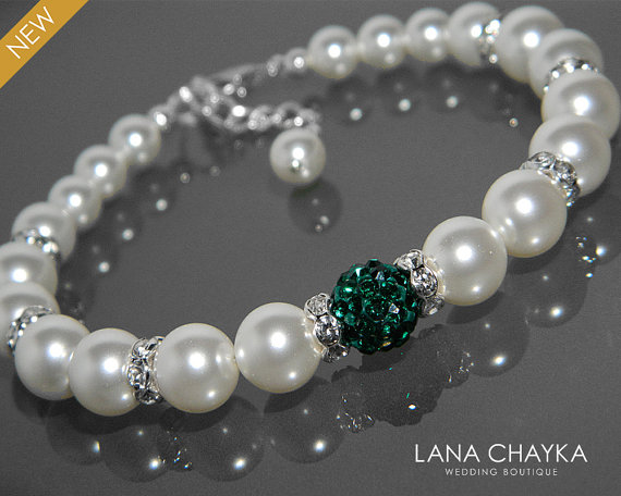 Mariage - White Pearl Emerald Bridal Bracelet Swarovski Pearl Silver Wedding Bracelet White Pearl Green Crystal Bracelet Wedding White Pearl Jewelry