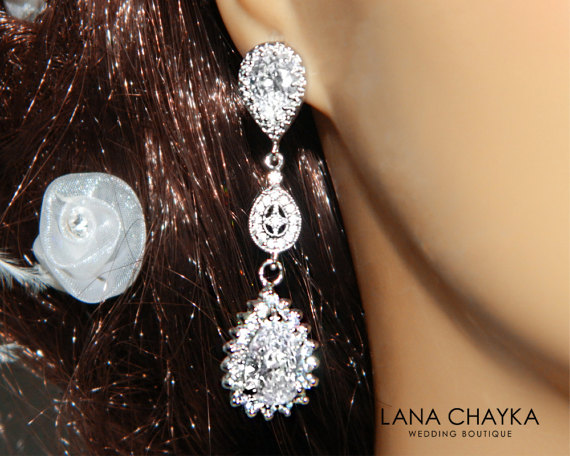 Mariage - Cubic Zirconia Chandelier Bridal Earrings Teardrop CZ Silver Earrings Bridal Crystal Jewelry Wedding CZ Earrings Bridal Bridesmaids Jewelry