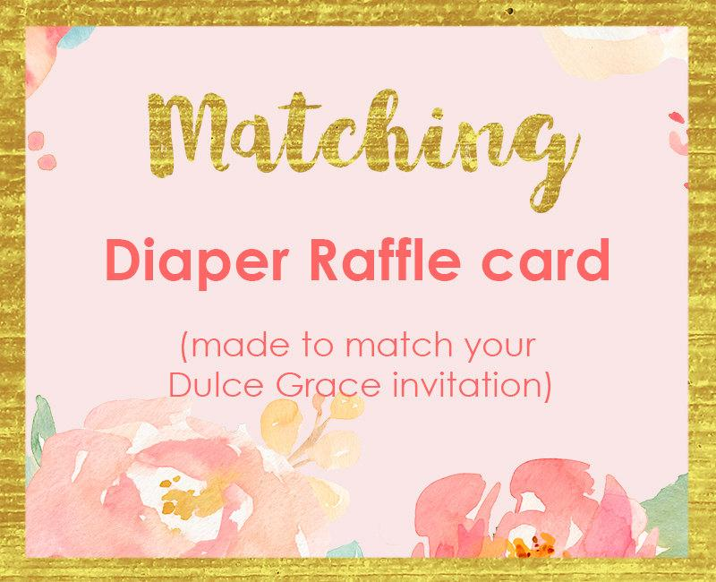 matching diaper raffle ticket book raffle card add on made to