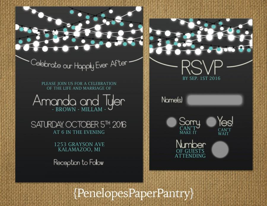 Mariage - Elegant Teal Wedding Invitations,Chalkboard,Strings of Lights,Gray Accents,Fall Wedding,Romantic,Opt RSVP,Customizable With White Envelopes