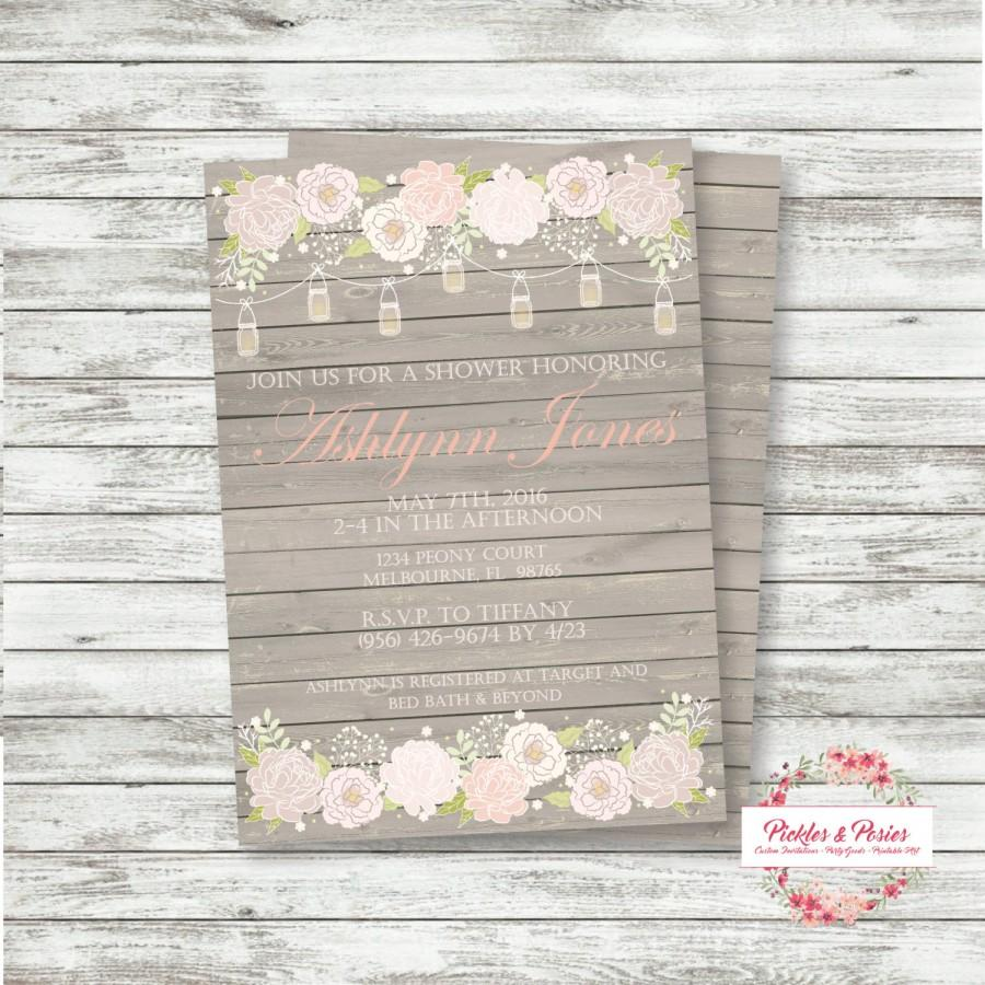 Wedding - Burlap and Lace Bridal Shower Invitation - Mason Jar Bridal Shower - Burlap Wedding - Custom Bridal Shower Invitation - Shabby Chic Wedding