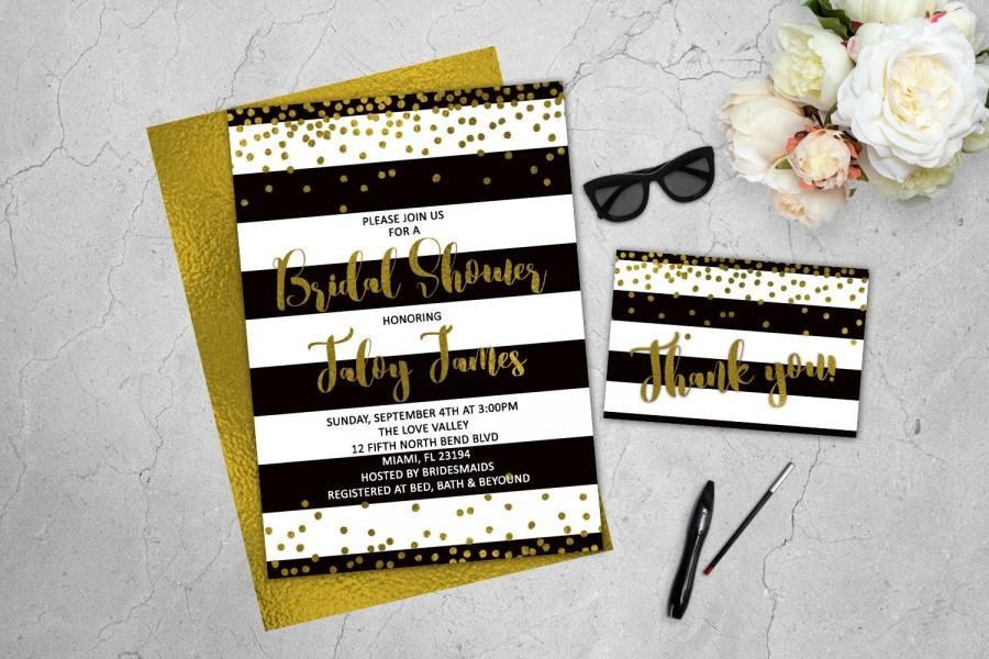 Mariage - Gold Confetti Invitation Bridal Shower Invitations Black and White Stripes Kate Spade Inspired Printable Invitation Gold Glitter Black Gold