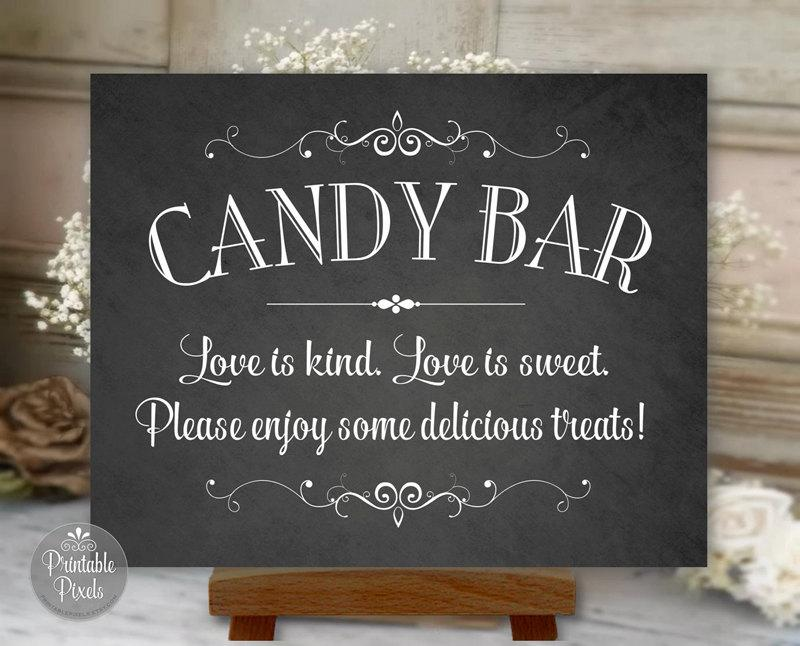 Mariage - Candy Bar Sign Chalkboard Printable Wedding, Love Is Kind, Love Is Sweet, Digital Instant Download (#CBA1C)